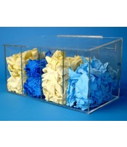 """S-Curve Cleanroom Glove Dispenser 20""""Wx12""""Hx12""""Dx 1/4""""Thick High Impact PETG Material  4-Compartment With Sloping Lid"""
