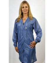 "Tech Wear Traditional ESD-Safe V-Neck 37""L Coat OFX-100 Color: Hi-Tech Blue Size: Small."