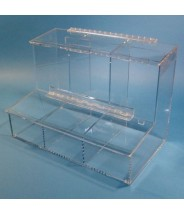 "S-Curve Cleanroom 3-Compartment Dispenser 17""Wx12""Hx9.25""Dx 1/4""Thick Clear Acrylic For Finger Cots, Ear Plugs, Etc, With Access Tray & Hinged Lid"