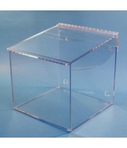 """S-Curve Cleanroom Glove Dispenser 12""""Wx12""""Hx12""""Dx 1/4""""Thick Clear Acrylic 1-Compartment With Sloped Lid"""