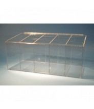 """S-Curve Cleanroom Glove Dispenser 26.5""""Wx12""""Hx12""""Dx 1/4""""Thick Clear Acrylic 5-Compartment With Sloping Lid"""