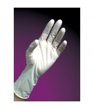 "DuraShield Nitrile Glove Cleanroom 9"" Powder Free 5mil Textured Finger Tip Color: White Size: Large 100/Bag"