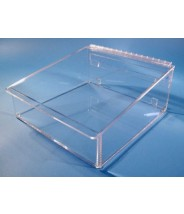"S-Curve Cleanroom Table Top Mid-Sized Wiper Dispenser 12.5""Wx5.25""Hx12.5""Dx1/4""Thick Clear Acrylic For 12""x12"" Wipes With Closed Front  & Lid"