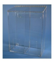 "S-Curve Cleanroom Multi-Use Dispenser 12""Wx16""Hx6""Dx 1/4""Thick Clear High Impact PETG Material  2-Compartment With Front Opening & Sloped Lid"