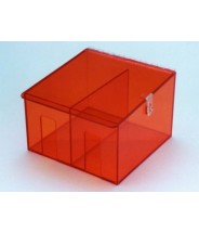 """S-Curve Cleanroom Hand Specific Glove Dispenser 12""""Wx8""""Hx12""""Dx1/4""""Thick Amber Acrylic 2-Compartment With Locking Hasp"""