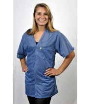 "Tech Wear Traditional ESD-Safe 32""L V-Neck Short Sleeve Jacket OFX-100 Color:Hi-Tech Blue Size: X-Small"