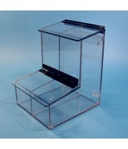 "S-Curve Cleanroom 2-Compartment Dispenser 8""Wx12""Hx9.25""Dx 1/4""Thick Clear Acrylic For Finger Cots, Ear Plugs, Etc, With Access Tray & Hinged Lid"