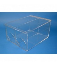 """S-Curve Cleanroom Hand Specific Glove Dispenser 12""""Wx8""""Hx15""""Dx1/4""""Thick Clear High Impact PETG Material 2-Compartment With Sloped Lid"""
