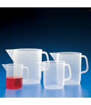 Globe Scientific Beaker Short Form With Handle 3000mL Polypropylene With Molded Graduations 27/Pack
