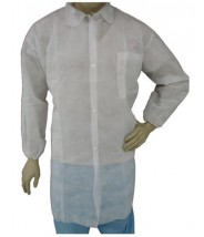 Epic Cleanroom Disposable Lab Coat Polypropylene, Snap Front, Elastic Wrist, Breast Pocket Color: White Size: Large 50/Case