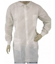 Epic Cleanroom Disposable Heavy Weight Lab Coat Polypropylene, Snap Front, Knit Wrist, Breast Pocket Color: White Size: X-Large 50/Case