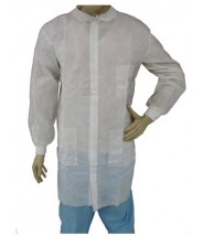 Epic Cleanroom Disposable Lab Coat Polypropylene, Snap Front, Knit Wrist & Collar, 3 Pockets Color: White Size: Large 50/Case