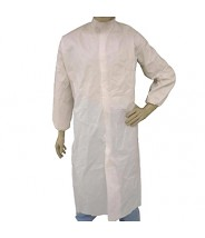 Epic Cleanroom Disposable Smock ESD-Safe Microporous Coated , Snap Front, Elastic  Wrist, Snap Mandarin Collar, No Pocket Color: White Size: Medium 30/Case