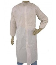 Epic Cleanroom Disposable Smock ESD-Safe Microporous Coated , Snap Front, Elastic Wrist, Snap Mandarin Collar, No Pocket Color: White Size: X-Large 30/Case