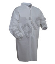 Epic Cleanroom High Performance Disposable Lab Coat Polyethylene Co-Polymer Laminated,  Snap Front, No  Pockets Color: White Size: Large 30/Case