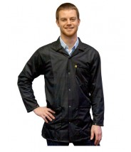 Transforming Technologies  ESD Traditional Lab Jacket, ESD Snap Wrist, Color: Black, Size: 4X-Large