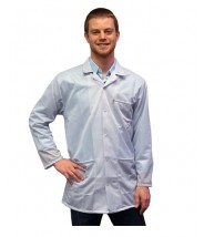Transforming Technologies ESD Traditional Lab Jacket, ESD, Snap Cuff Wrist, Color: White, Size: Large