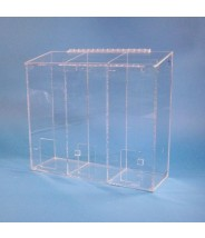 "S-Curve Cleanroom Multi-Use Dispenser 18""Wx16""Hx6""Dx 1/4""Thick Clear High Impact PETG Material 3-Compartment With Front Opening & Sloped Lid"