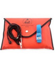 "Botron Dissipative Field Service Kit 18""x22"" 2-Pocket, W/Wrist Strap Set & Ground Cord + Pouch Color: Red"