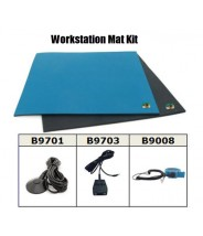 "Botron Workstation Mat Kit Type T2 Rubber 2-Layer 24""x36""x.060 Includes: 3'x5' Black Conductive Rubber Floor Mat, Wrist Strap Set & Grounding Color: Blue"