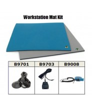 "Botron Workstation Mat Kit Type T2 Rubber 2-Layer 24""x36""x.060 Includes: 3'x5' Gray Dissipative Rubber Floor Mat,<br> Wrist Strap Set & Grounding Color: Blue"