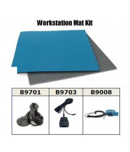 "Botron Workstation Mat Kit Type T2 Rubber 2-Layer 24""x36""x.060 Blue Worktop &  3'x5' Gray Dissipative V-Groove Vinyl Floor Mat, Includes:Wrist Strap Set & Grounding"