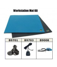 Botron Workstation Mat Kit Type T2 with Table Mat (2' x 4' Blue), Floor Mat (3' x 5' Black) with Grounding Hardware and Blue Wrist Strap