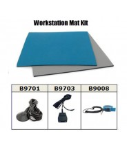 "Botron Workstation Mat Kit Type T2 Rubber 2-Layer 24""x48""x.060 Includes: 3'x5' Gray Dissipative Rubber Floor Mat, Wrist Strap Set & Grounding Color: Blue"