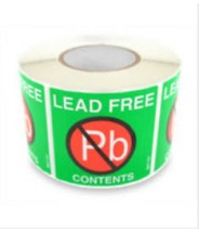 """Botron 2""""x2"""" Lead-Free Warning Label Green/Red/White 500/Roll"""