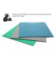 "Botron Type T2+ Rubber 2-Layer Worktop Mat 24""x72""x.0.80 Includes 3/8"" Female Snap & Common Point Ground Cord Color: Blue"