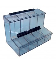 "S-Curve Cleanroom 4-Compartment Dispenser 17.25""Wx12""Hx9.25""Dx 1/4""Thick Clear Acrylic For Finger Cots, Ear Plugs, Etc, With Access Tray & Hinged Lid"