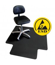 "Transforming Technologies ESD VinylStat Rigid Conductive Chair Mat 36"" x 48"", Black, .090"" Thick"