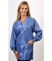 "Tech Wear Hallmark ESD-Safe 32""L Traditional Jacket With ESD Cuff OFX-100 Color: Hi-Tech Blue Size: Large."