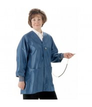 "Tech Wear Hallmark ESD-Safe 32""L Jacket With ESD Cuff & Ground Snap IVX400 Color: Royal Blue Size: X-Large."