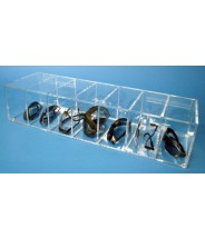"""S-Curve Cleanroom Safety Glass Dispenser 24.5""""Wx5""""Hx7""""Dx1/4""""Thick Clear Acrylic For 7 Pairs"""