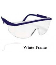 QVIS Sentinel Safety Glasses Molded Nose Bridge, UV Protective, Scratch Resistant, ANSI Z87.1-1989  Clear Lens with White Frame 12/Box