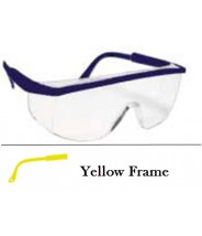 QVIS Sentinel Traditional Safety Glasses Molded Nose Bridge, UV Protective, Scratch Resistant, ANSI Z87.1-1989  Clear Lens with Yellow Frame 12/Box.