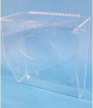 "S-Curve Cleanroom Low Profile Storage Bin Dispenser 16.5""x17""x8""Dx1/4"" Thick Clear Acrylic 1-Compartment With Front Access & Hinged Lid & Heavy Duty Mounting Bracket"