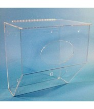 "S-Curve Cleanroom Extra Large Storage Bin Dispenser 16.5""x17""x12""Dx1/4"" Thick Clear Acrylic 1-Compartment With Front Access & Hinged Lid & Heavy Duty Mounting Bracket"