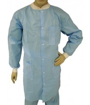 Epic Cleanroom Economy Disposable Lab Coat Polypropylene, Snap Front, Knit Wrist & Collar, 3 Pockets Color: Sky Blue Size: Medium 50/Case