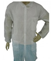 Epic Cleanroom Economy Disposable Lab Coat Light Weight Polypropylene, Snap Front, Knit Wrist & Collar, 3 Pockets Color: White Size: Large 50/Case