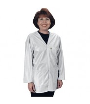 "Tech Wear Traditional ESD-Safe 32""L V-Neck Jacket OFX-100 Color: White Size: Medium"