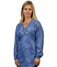 "Tech Wear Traditional ESD-Safe 32""L V-Neck Jacket With ESD Cuff OFX-100 Color: Hi-Tech Blue Size: Small"