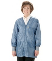 "Tech Wear Traditional ESD-Safe 32""L V-Neck Jacket With ESD Cuff OFX-100 Color: Hi-Tech Blue Size: 3X-Large."