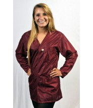 "Tech Wear ESD-Safe V-Neck 32""L Jacket OFX-100 Color: Burgundy Size: X-Large"