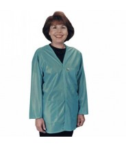 """Tech Wear ESD-Safe V-Neck 32""""L Jacket OFX-100 Color: Teal Size: X-Small."""