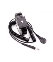 Transforming Technologies Single Wire Adjustable Premium Black Metal Wrist Strap With 6' Coil Cord 4mm Snap