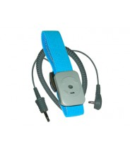 Transforming Technologies Wrist Strap Dual Conductor Set Adjustable Turquoise Fabric With 20' Coil Cord
