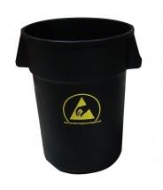 Transforming Technologies ESD Safe Waste Basket: 44 Gallon Black