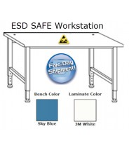 "IAC Industries Workmaster™ Quick Ship Adjustable Height ESD Bench 30x96"", Sky Blue"